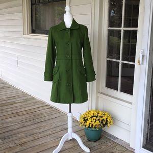 Tulle Green Wool Knee Length Coat